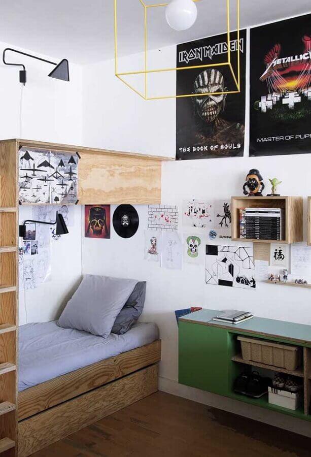 decoração de quarto de adolescente masculino simples planejado Foto Ideias Decor