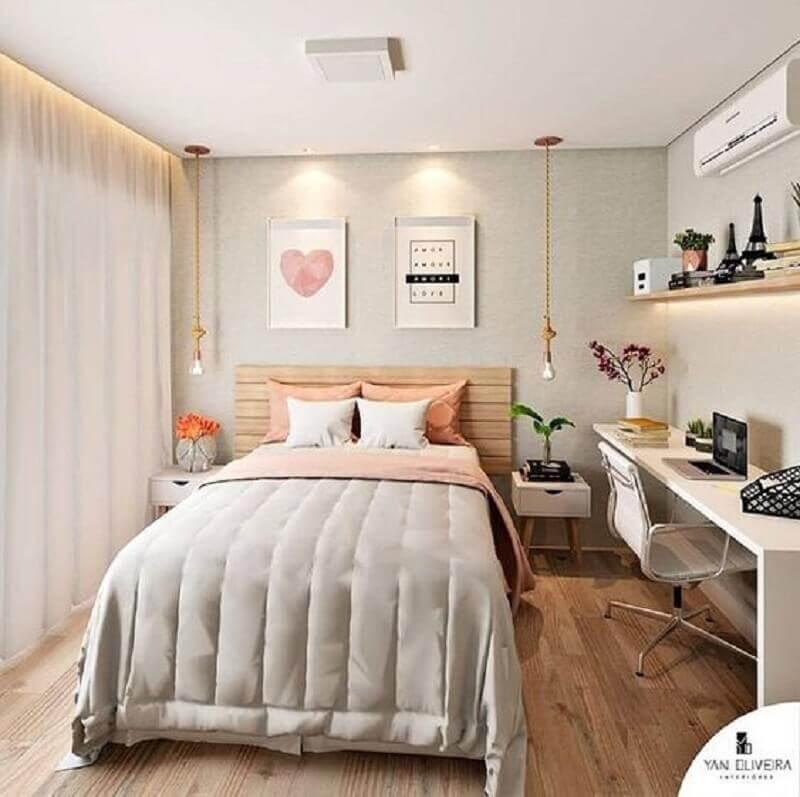 decoração de quarto feminino com cabeceira de madeira Foto Pinterest