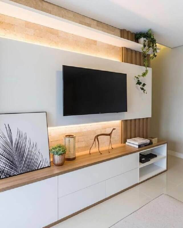 the decor is modern with a rack, with a control panel for living room Photo-Decostore