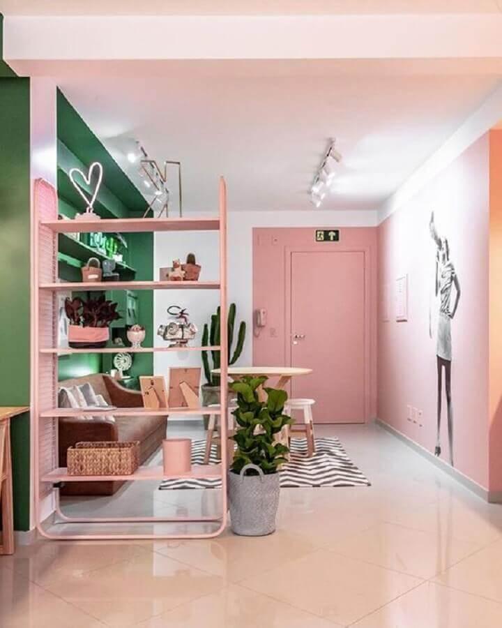 decoração moderna para casa cor de rosa e verde Foto Pinterest