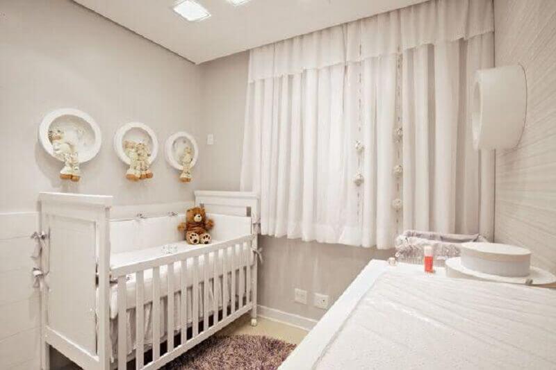 decoração neutra com cortina para quarto de bebê branca Foto Últimas Decoração