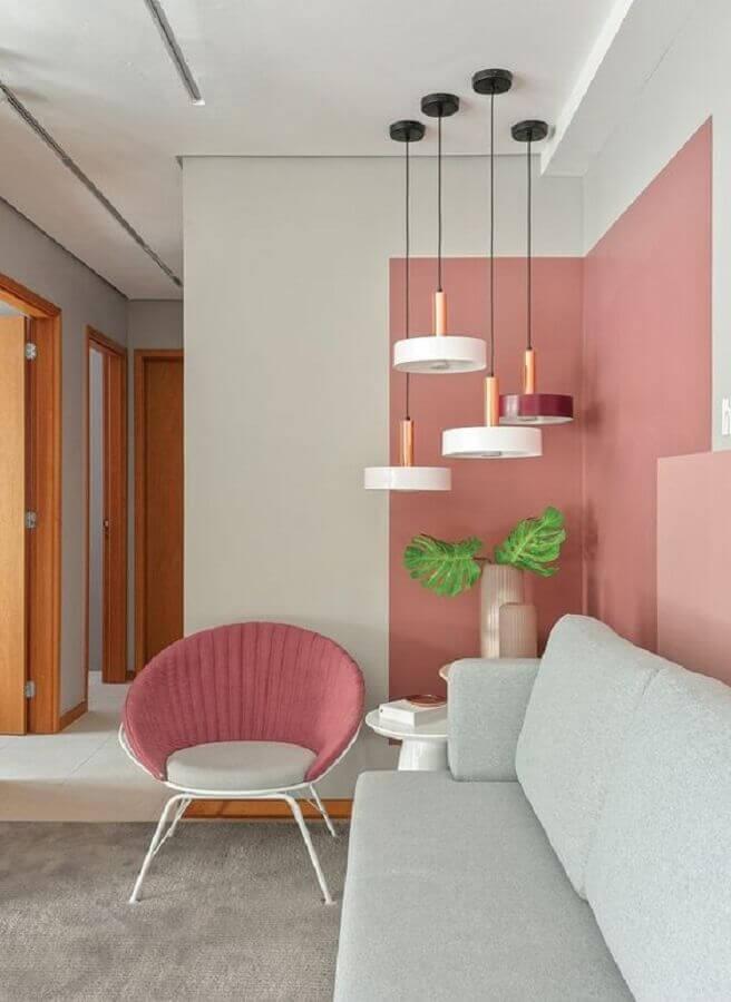 decoração para sala cor de rosa e branca Foto Pinterest