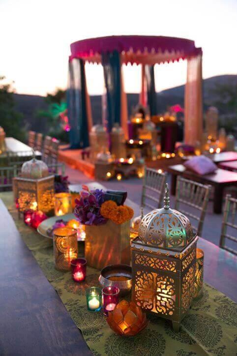 Capriche na iluminação da sua decoração árabe, faz toda diferença no resultado