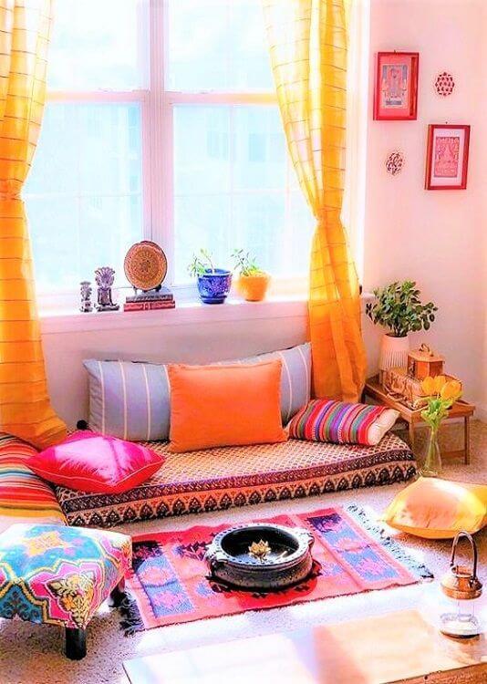 Decoração árabe na sala de estar