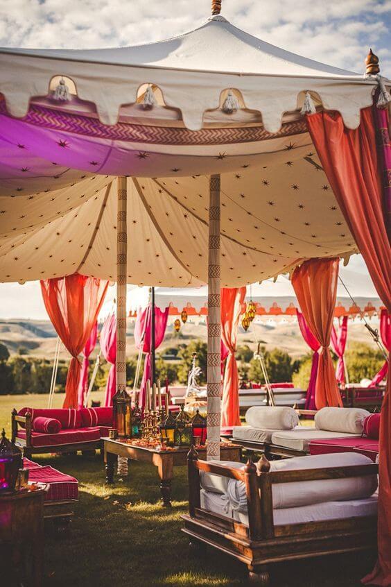Decoração árabe com tenda moderna