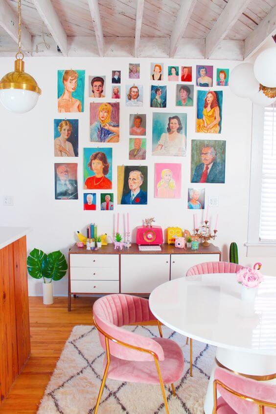Sala de jantar estilo boho chic decoração colorida