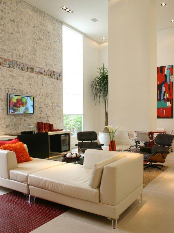 Decoração do escritório com sofá divã branco