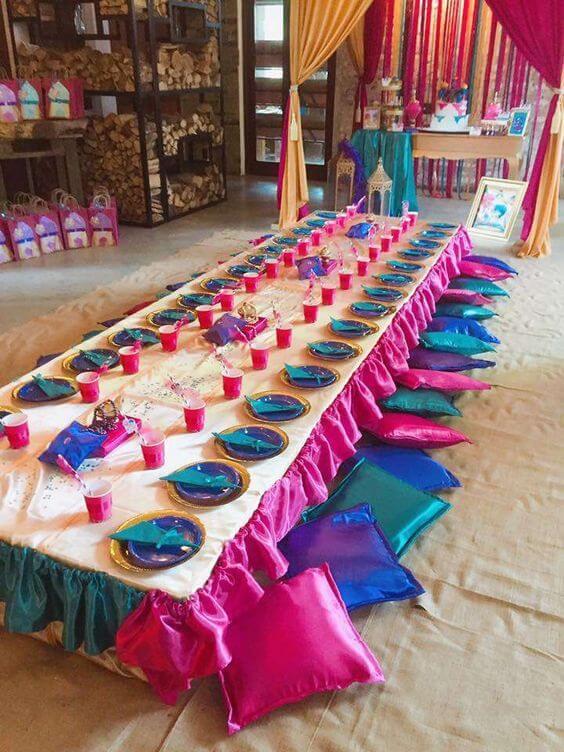 Decoração festa árabe rosa e azul