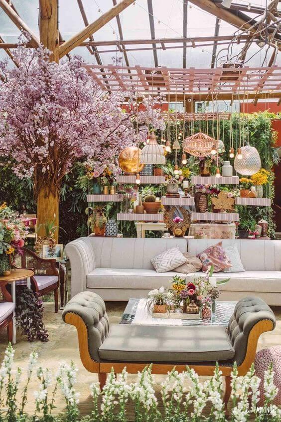 Lounge de casamento festa boho chic