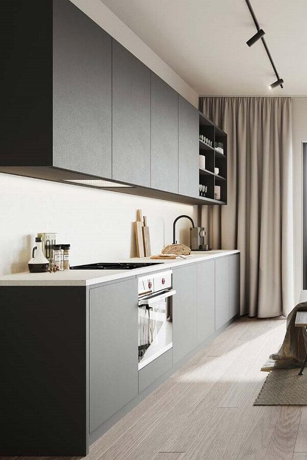 design minimalista de armário de cozinha preto fosco Foto Pinterest