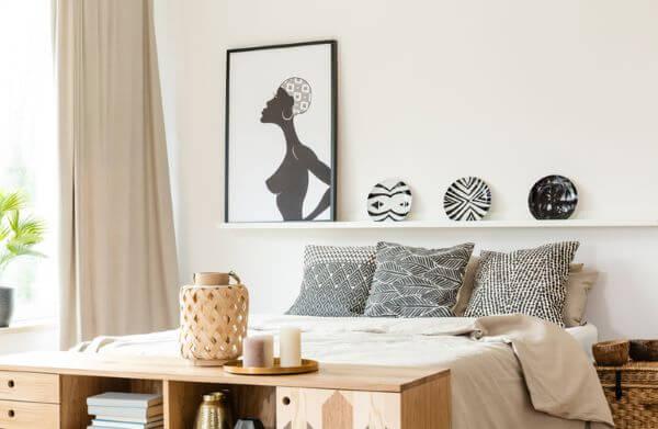 Almofadas com estampas africanas preto e branco