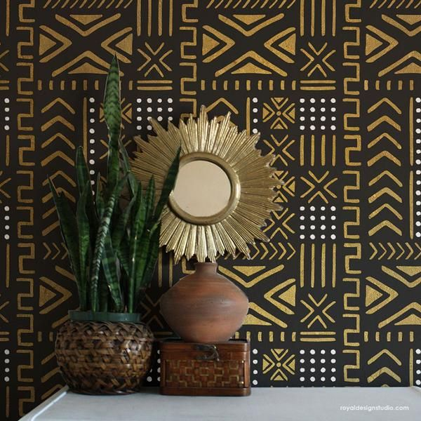 Estampas africanas no papel de parede