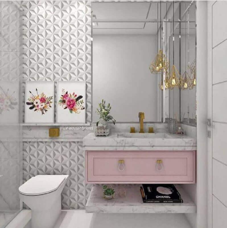 gabinete de banheiro planejado na cor rosa bebê Foto Pinterest