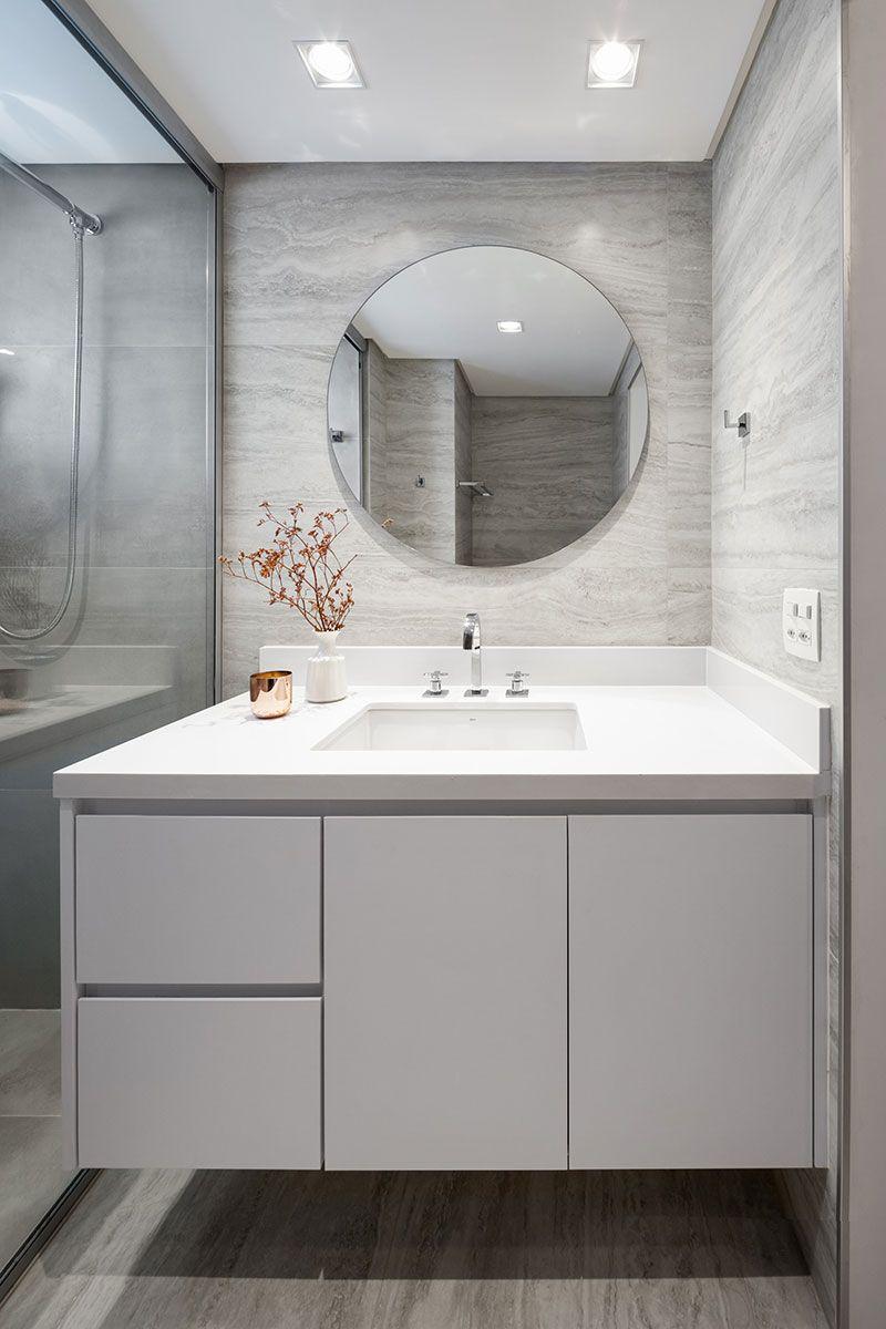 Gabinete para banheiro com cuba e espelho redondo