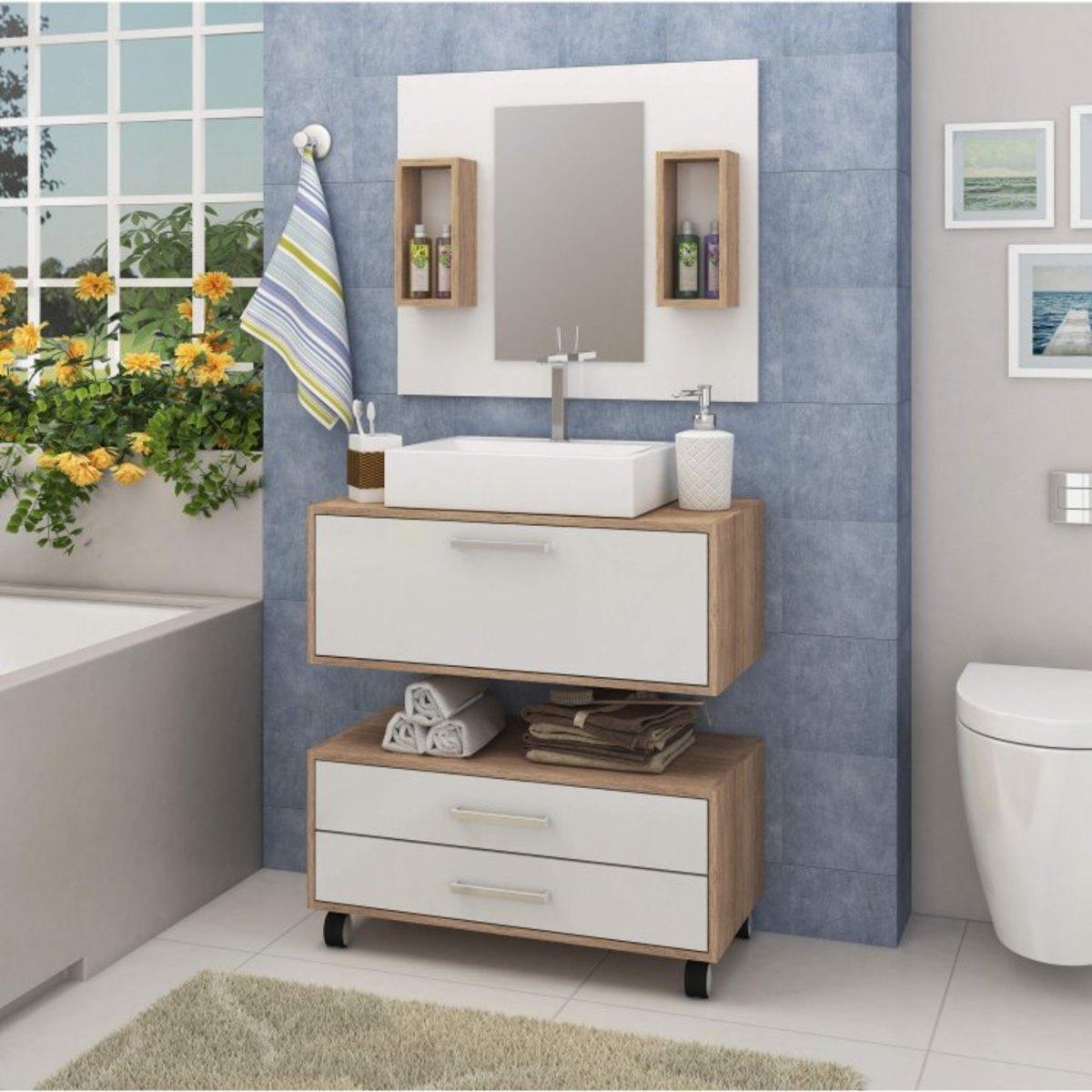 Gabinete para banheiro com rodinhas branco