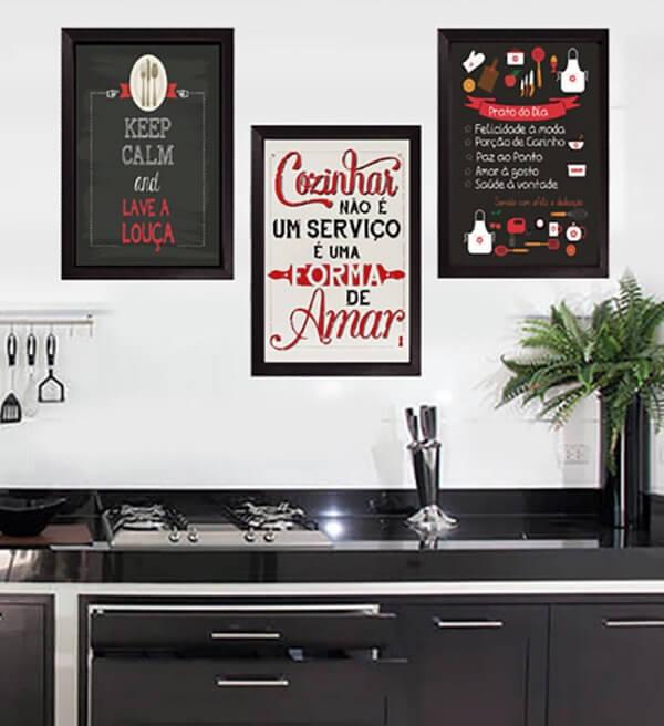 kit quadros decorativos para cozinha com design criativo