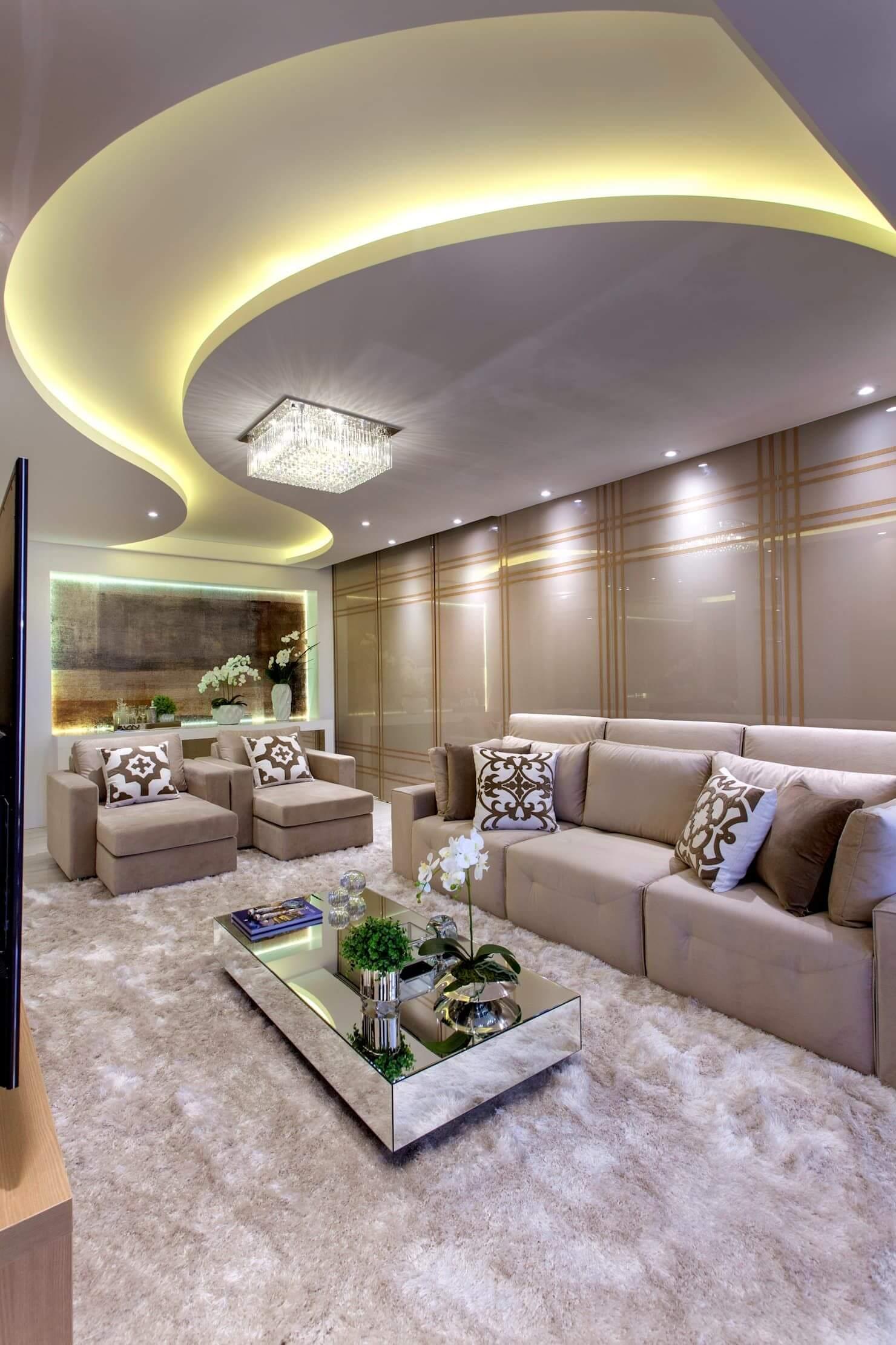 Revestimento para sala de estar com teto de gesso