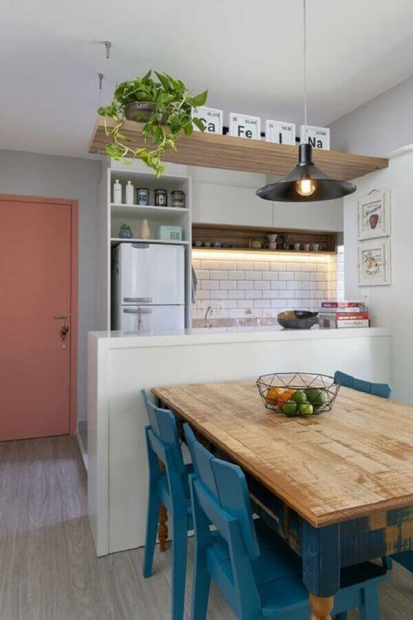 mesa bancada para cozinha pequena americana Foto Eu Capricho