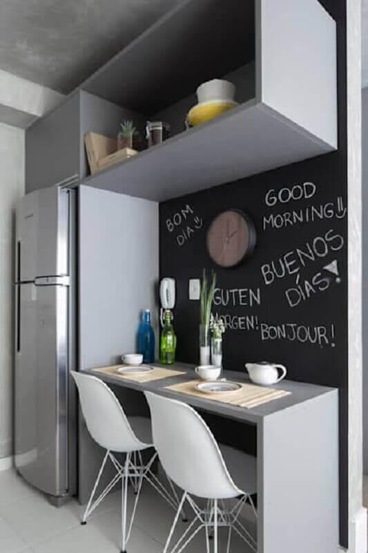 mesa bancada para cozinha pequena cinza Foto Pinterest