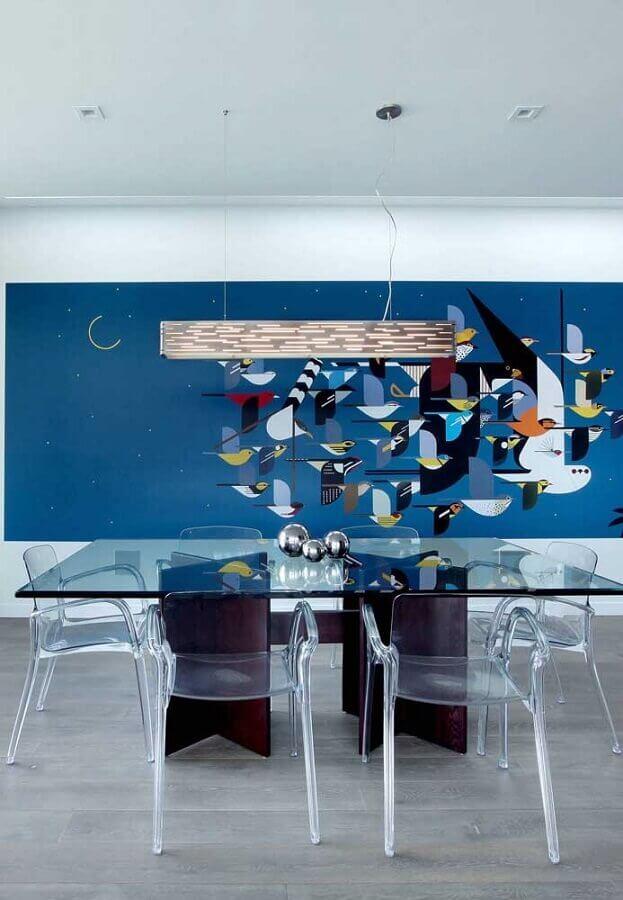 mesa de vidro com cadeiras transparentes Foto Home Fashion Trend