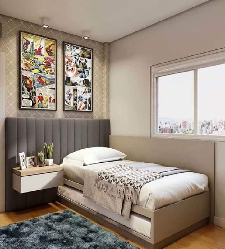modelos de cabeceira de cama de solteiro cinza estofada Foto Jeito de Casa