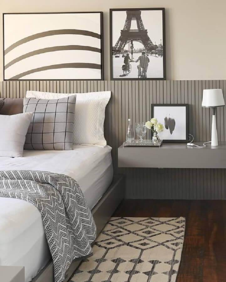 modelos de cabeceira de cama para quarto planejado cinza Foto Casa de Valentina