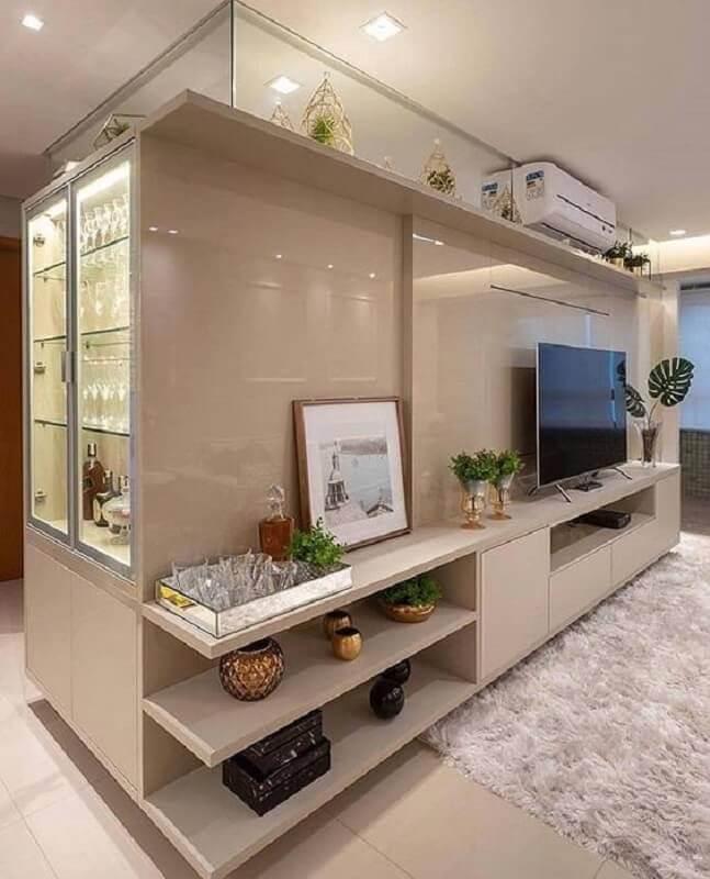 painel de TV planejado na cor nude Foto Futurist Architecture