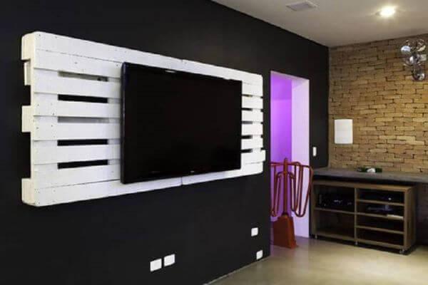 Painel para tv de pallet branco