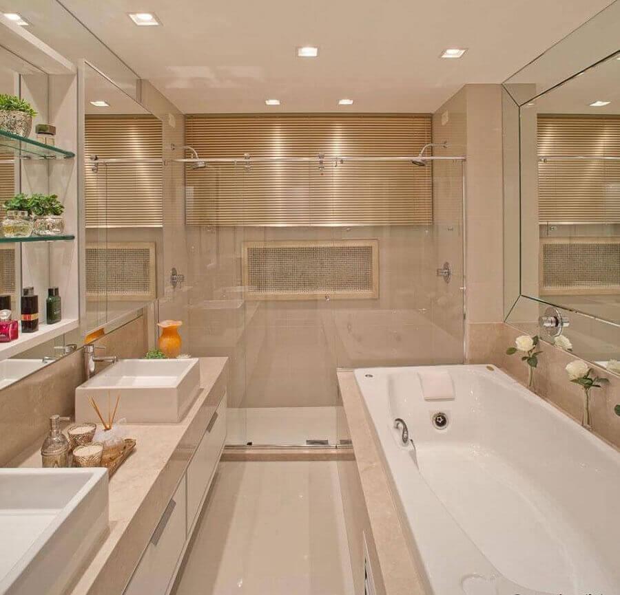 paleta cores nude para decoração de banheiro com banheira Foto Pinterest