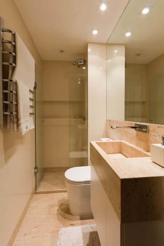 paleta de cores nude para decoração de banheiro pequeno Foto Pinterest