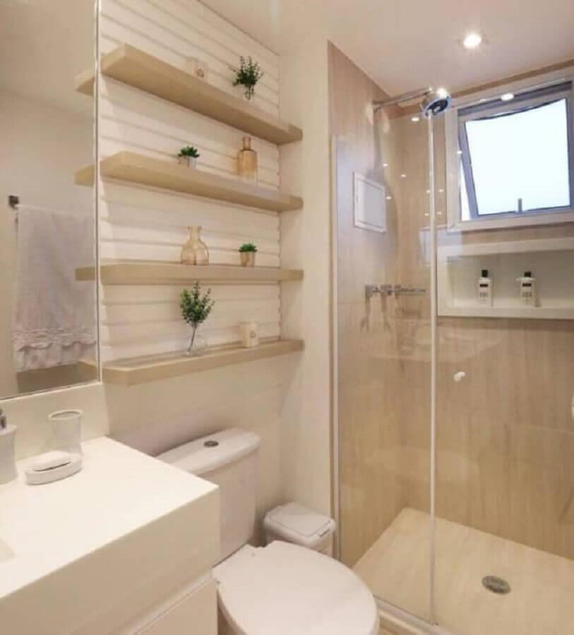 paleta de cores nude para decoração de banheiro planejado com prateleiras de madeira Foto Veia Arquitetônica