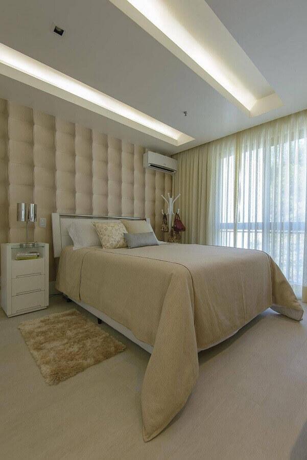 papel de parede 3d para quarto de casal decorado em tons neutros Foto FPR Studio