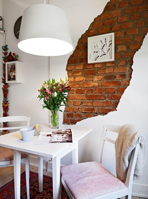 Papel de parede tijolinho na decoração clean