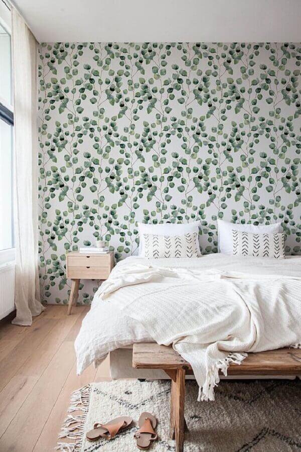 papel de parede para quarto minimalista com estampa de folhagens Foto Adesivos Dona Cereja