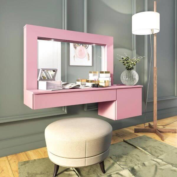 Penteadeira suspensa cor de rosa com gaveta
