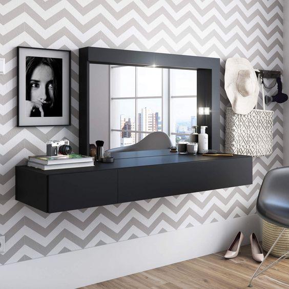 Penteadeira suspensa preta com papel de parede