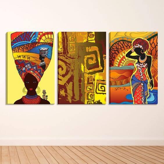 Quadros com estampas africanas coloridos