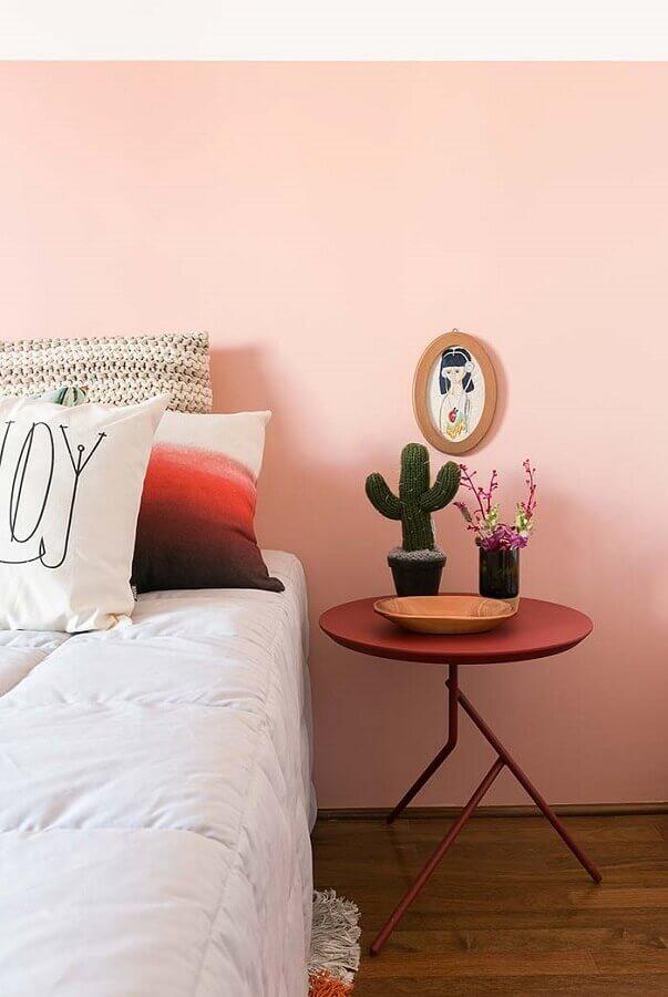 quarto decorado com cor de parede rosa Foto Histórias de Casa