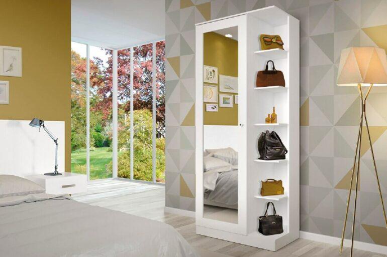 quarto moderno decorado com armário multiuso com espelho Foto Móveis Henn