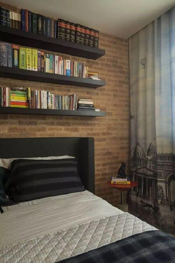 quarto moderno decorado com cabeceira preta Foto Pinterest