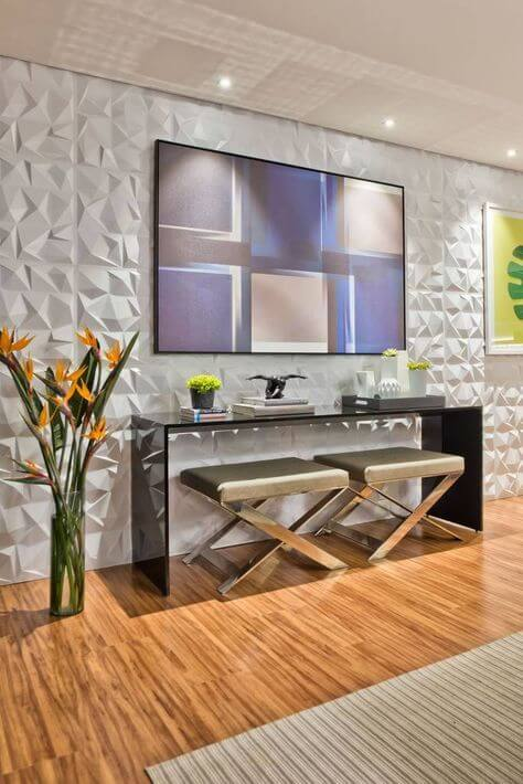 Revestimento 3d para sala de estar com aparador moderno
