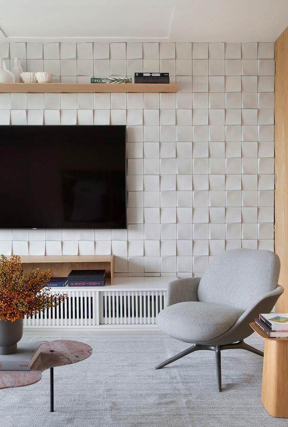 Revestimento para sala de tv com placa de gesso