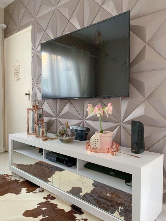 Revestimento para sala 3d com placa de gesso cinza