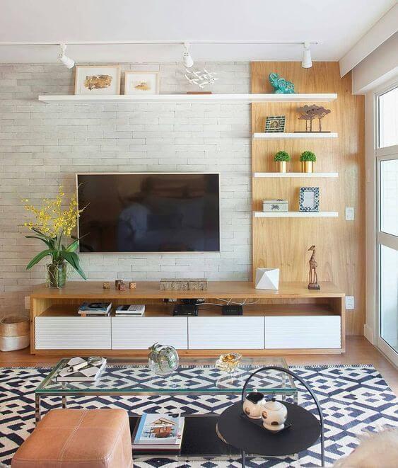 Revestimento para sala com tijolinho branco