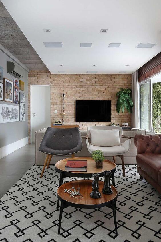 Revestimento para sala com tijolinho