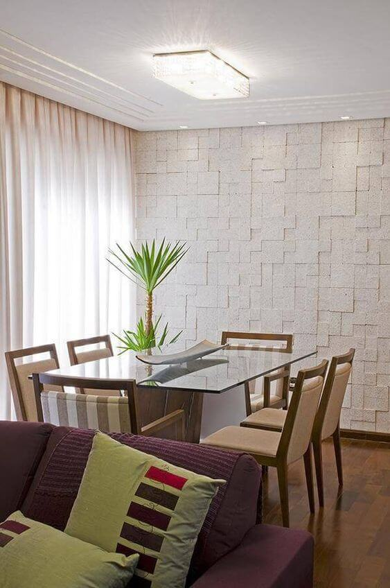 Revestimento para sala de jantar com gesso em 3d