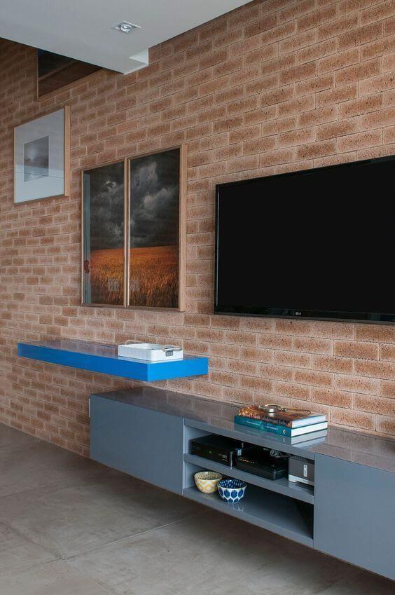 Revestimento para sala de tv de tijolinho
