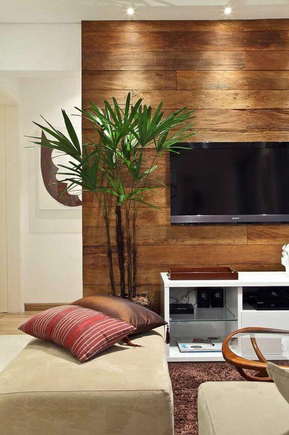 Revestimento para sala de tv de madeira