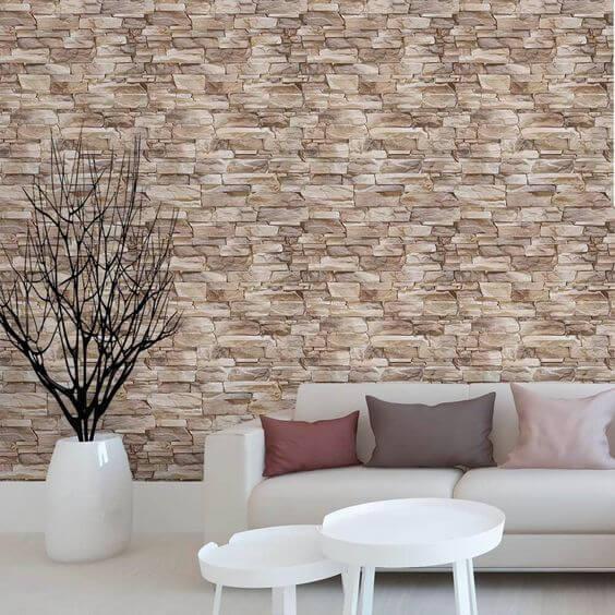 Revestimento para sala com pedra canjiquinha