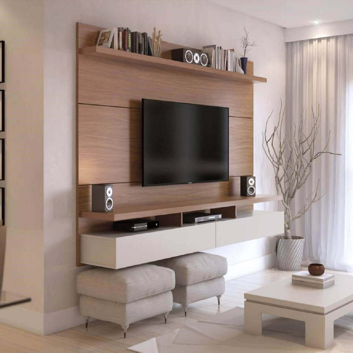 white room decorated with rack with small panel for suspended TV Foto Pinterest